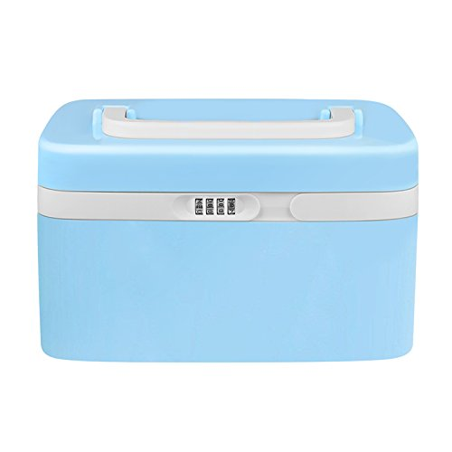 eoere Combination Lock Medicine Cabinet with Separate Compartments,Locking Prescription Pill Case,Child Proof Storage Box, Size 11 x 7.4 x 6.2 inches, Blue