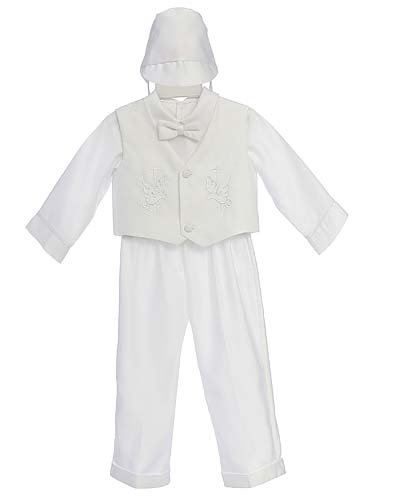White Christening Baby Boy Long Tuxedo Suit, Special occasion suit