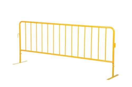 (Vestil PRAIL-102-HD-Y-FF Yellow Powder Coat Heavy Duty Crowd Control Interlocking Barrier with Both Flat Foot, Steel, 102