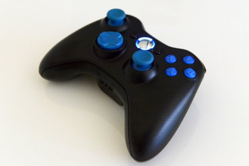 17 Mode Drop Shot, Quick Scope, Auto Aim, Dual Rapid Fire, Reprogrammable Xbox 360 Modded Rapid Fire Controller For COD Advanced Warfare Ghost Mw3 Black Ops Mw 2 with Blue Dpad, Sticks and Led