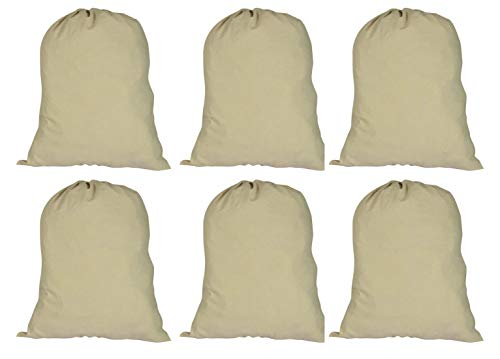 ACCENTHOME Accent Home Cotton Canvas Printable Laundry Draw String Plain Bag 6 Pc Pack Extra Large 28x36 (WxL) for Heavy Duty and Extra Space