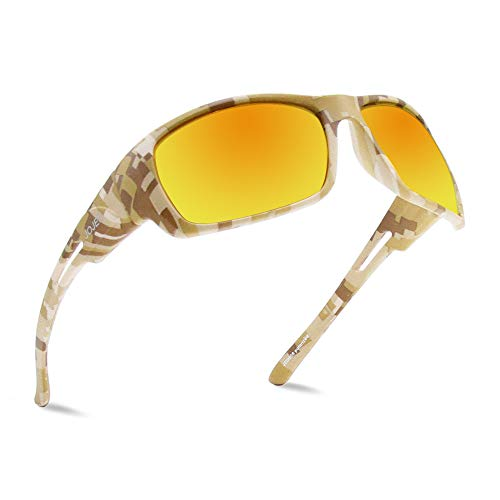 JOJEN Camouflage Polarized Sports Sunglasses for Men Women Running Cycling Fishing Hunting Golfing Tr90 Ultralight Frame TAC HD Lens JE008(Yellow Camo Frame Yellow Revo Lens)