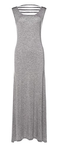 Avoir Aime Women's Casual Sleeveless Maxi Beach Dress with Laser Cutouts - Light Grey, (Laser Cut Out Dress)