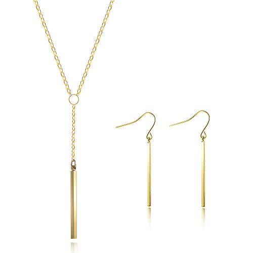 Q﹠YFH Silver Y Lariat Bar Necklace Earrings Set for Women Minimalist Drop Bar Y Chain Pendant Vertical Bar Dangle Earrings Jewelry (Y Necklace Gold) ()