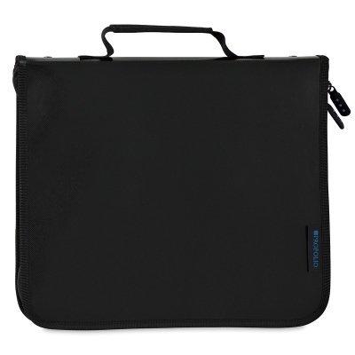 Itoya 8-1/2x 11'' Art Size Zipper Binder, Black - Includes 5 Polyglass Pocket Pages