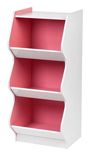 IRIS 3 Tier Curved Edge Storage Shelf, White and Pink