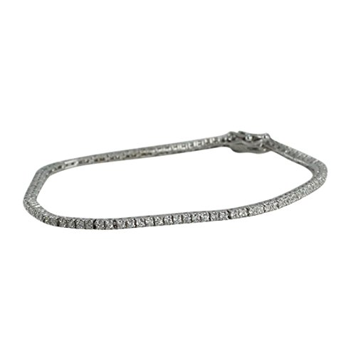 18ct White Gold Round Cut Diamond Tennis Bracelet (1.3 Ct, G Color, VS1 Clarity) CaratsDirect2U 19000097