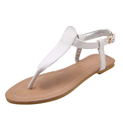 Open Romane♫primavera Spiaggia Pelle White Confortevole Sandali Toe Basse Donna Scarpe Con Eleganti ♫infradito Estate Ballerine Cinturino Fibbia q7fnxU