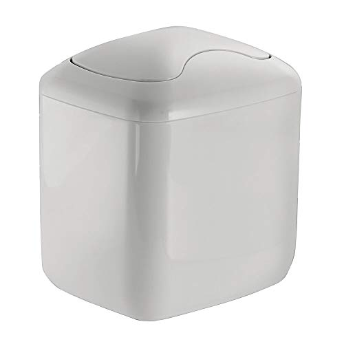 mDesign Modern Plastic Square Mini Wastebasket Trash Can Dispenser with Swing Lid for Bathroom Vanity Countertop or Tabletop - Dispose of Cotton Rounds, Makeup Sponges, Tissues - Light Gray
