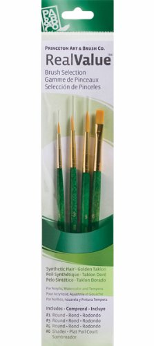 (Princeton Art & Brush Real Value Rush Set, Round Size 1, 3 and 5, Shader Size 6, Gold Taklon)