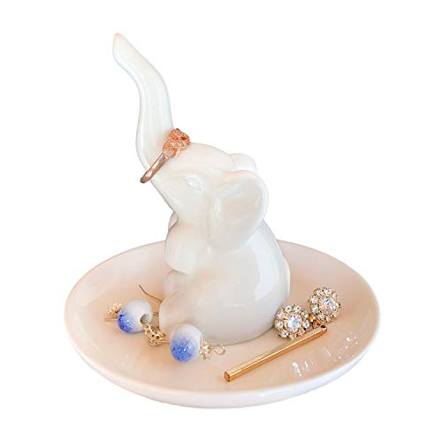 HomeSmile Elephant Ring Dish Holder for Jewelry,Engagement Wedding Trinket Trays Ring Display Holder Stand White