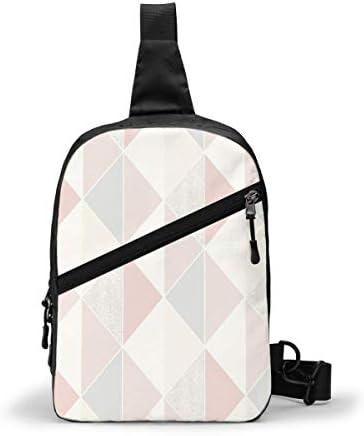 GIERTER Tate geometrische driehoek roze zilver Borst Pakket Multifunctionele Crossbody Outdoor Schoudertas Dagrugzak Sling Rugzak Casual Sport Rugzak voor Wandelen