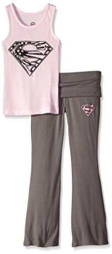 DC Comics Girls 'Superman Supergirl Americana' Yoga Pajama Set, Pink,  4/5]()