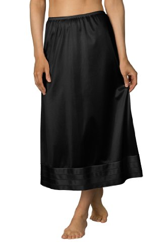 Velrose Plus Size Snip-It Crochet Edge Half Slip (6419), Black, 3X