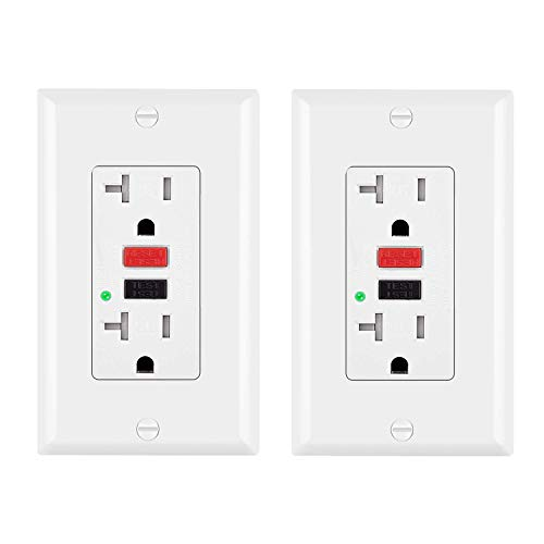 [2 Pack] BESTTEN Tamper-Resistant GFCI Receptacle Outlets (20A/125V/2500W), LED Indicator, Decorative Wall Plates and Screws Included, ETL Certified, - Install Outlet 20a