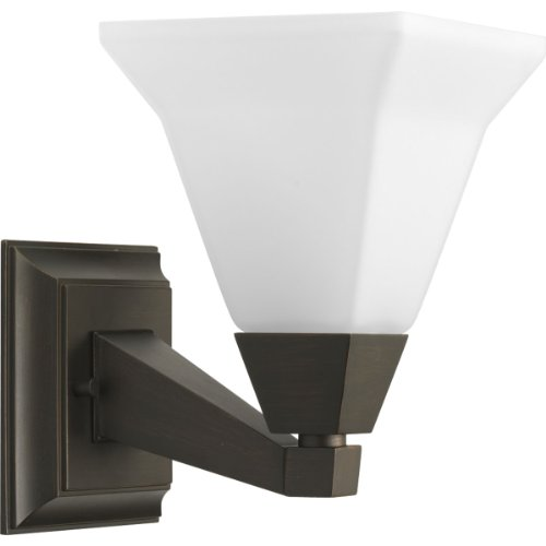 Progress Lighting P3135-74 1-Light Bath Fixture with Etched Opal Glass, Venetian (Bronze Opal Etched Glass)