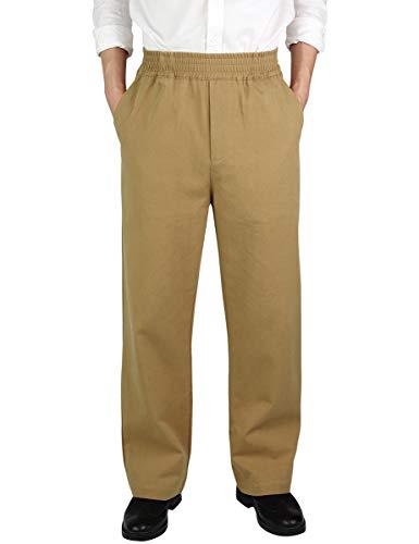 IDEALSANXUN Men's Casual Relaxed Fit Elastic Waist Twill Pant (Dark Khaki(Twill), 32) (Straight Men Pants Zipper)