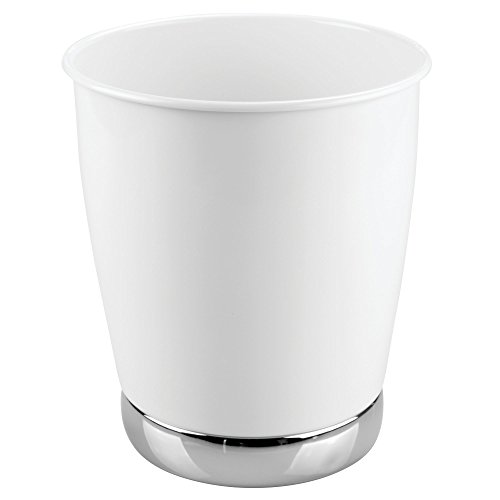 mDesign Small Round Metal Trash Can Wastebasket, Garbage Container Bin - for Bathrooms, Powder Rooms, Kitchens, Home Offices - Durable Solid Steel - White/Chrome