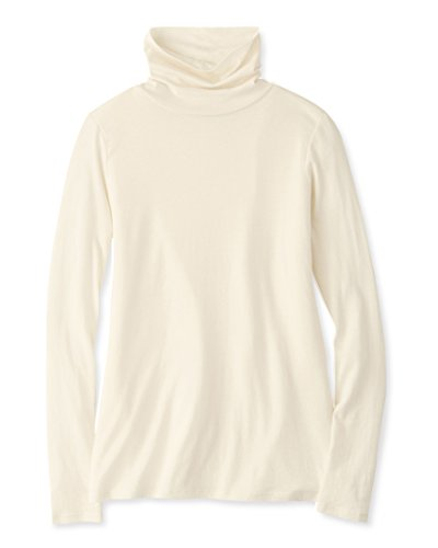 Pendleton Women's Long Sleeve Dressy Casual Turtleneck Jersey Tee, Ivory, Medium ()