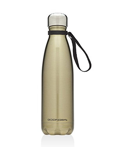 Godinger 17 Oz. Vacuum-insulated Shiny Gold Hot/cold Beverage Bottle Drink Water Thermos With Carrying Loop Handle