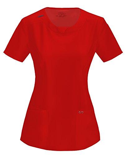 Cherokee Infinity Women's Split Round Neck Solid Scrub Top XXX-Large Red
