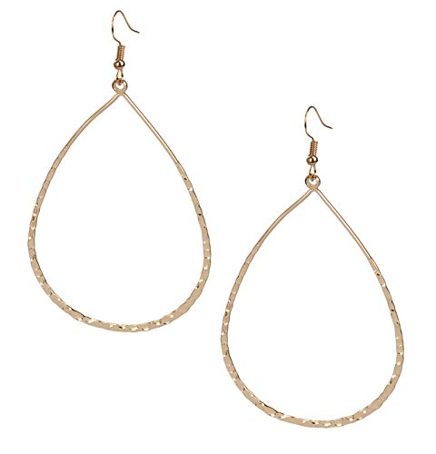 Large Lightweight Statement Open Hoop Teardrop Earrings in Gold with Wavy Texture for Women | SPUNKYsoul -