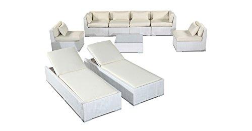 r Outdoor Patio Furniture Modify-It Aloha Maui 9 Piece Sofa Set & Chaise Lounge, Ivory (Ivory Wicker Ottoman)