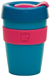 KeepCup 12oz Reusable Coffee Cup. Lightweight BPA BPS-Free Plastic & Non-Slip Silicone Band. 12-Ounce/Medium, Twilight
