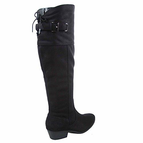 Fashion Black High Riding Zip Women's Shoes Low Over Knee Heel Boots Zama Side Soda SxUqwSOE