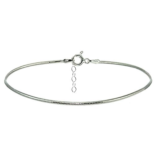 (Hoops & Loops Sterling Silver Snake Chain Anklet)