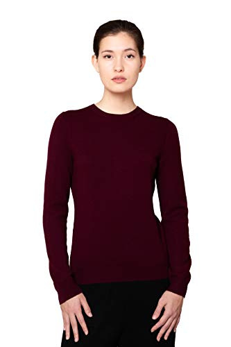 Pure Cashmere Crewneck Sweater - Goyo Cashmere Women's 100% Pure Cashmere Sweater - Long Sleeve Crewneck Pullover (Wine Red, L)