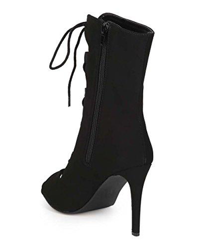 Bootie Black Women EE47 Stiletto Toe Delicious Peep Lace Gladiator Nubuck Up x7wg6OZg