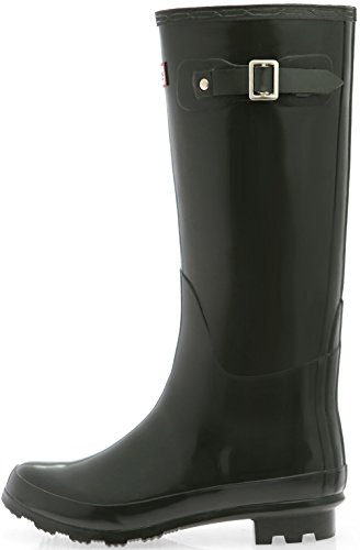 Paperplanes-1193 Women Trendy Long Wellington Garden Rain Boots Dark Olive CwqmRjbP5