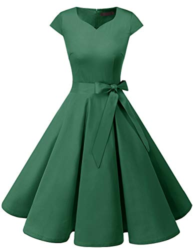 DRESSTELLS Retro 1950s Solid Color Cocktail Dresses Vintage Swing Dress with Cap-Sleeves Green -