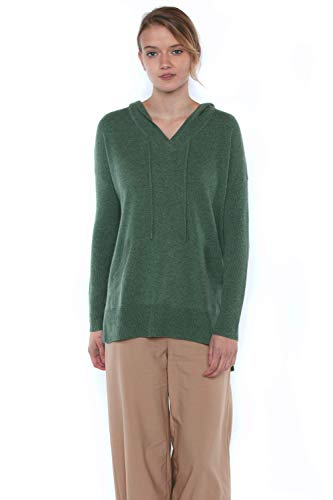 JENNIE LIU Women's 100% Pure Cashmere Dolman Hooded Tunic Pullover Sweater(S, ForestHeather)