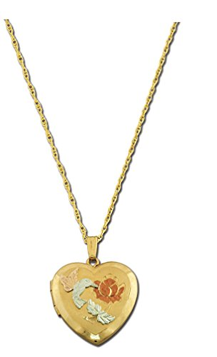 Landstroms Black Hills Gold Locket with Hummingbird and 12K Leaves Black Hills Gold Locket