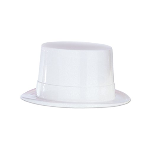Beistle 66625 24-Piece Plastic Toppers, White (Topper Plastic Hat)
