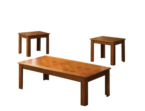 Furniture of America Stanton 3-Piece Coffee Table and End Table Set, Medium Oak Finish
