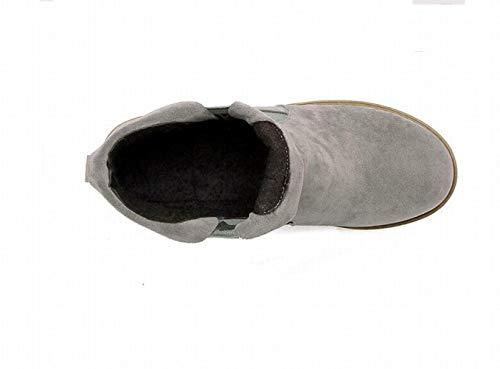 Bottes Pour Martin Femmes Et À Pointus Chaussures Bottines 38 gris Bottillons En Tailles Wsr Bas Étudiants D'automne Chaudes Talons D'hiver Grandes Coton 5dwqCx