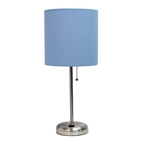 Limelights LT2024-BLU Brushed Steel Lamp with Charging Outlet and Fabric Shade, - Shades Buy Online