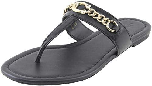 Coach Women's Jaclyn Sandals in Black Leather 8 (B) US Women