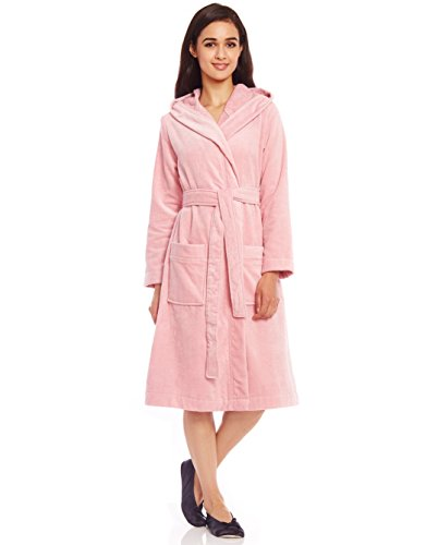 Belted Short Hoodie Bathrobe with Contrast Piped Trim (L, Pink) ()