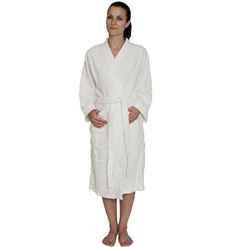 NDK New York Women's and Men's Terry Cloth Kimono Bath Robe Unisex 100% Cotton, Small/Medium, White