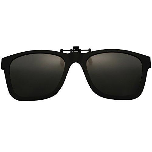 Flip up Clip Wayfarer Sunglasses Lens Polarized Clip-on TR90 Frame - Clip Sunglasses