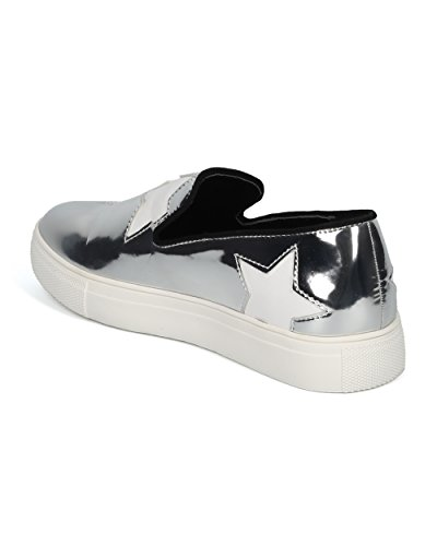 Applique Slip Alrisco Silver Wild Metallic on HE23 by Low Top Stars Collection Sneaker Women Diva Sneaker XPxXY