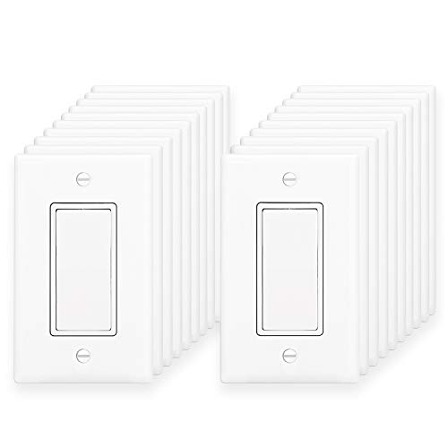 Electric Wide Single ([20 Pack] BESTTEN Electric Single Pole ON/OFF Light Switch Interrupters, 15A 120/277V, Decor Wall Plates Included, Commercial and Residential Grade, UL Listed, White)