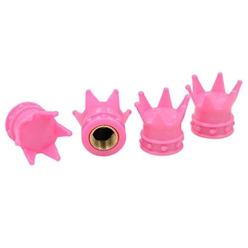AMA(TM) 4PCS Crown Wheel Rim Tyre Stem Air Valve Caps Dust Cover for Car Truck (Pink)