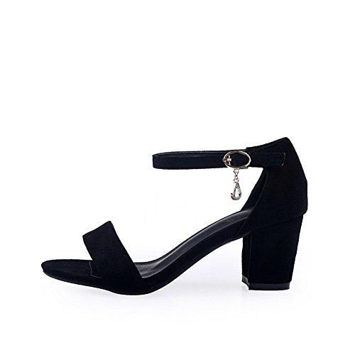 VogueZone009 Women's Frosted Open Toe Kitten-Heels Buckle Solid Sandals Black tNyfi