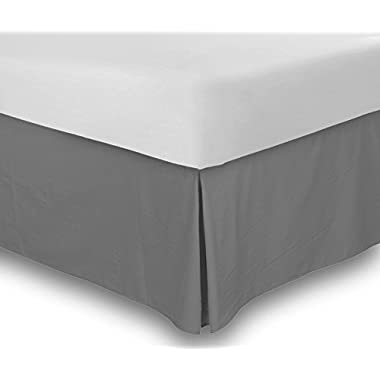 Combed Cotton Sateen Queen Bed-Skirt Grey - 100% Finest Quality Long Staple Fiber - Durable, Comfortable & Abrasion Resistant, Quadruple Pleated, Cotton Blended Platform - By Utopia Bedding
