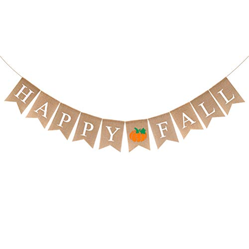 Happy Fall Burlap Banner Autumn Garland Thanksgiving Day Pumpkin Party Mantel Decorations Fall Photo Prop